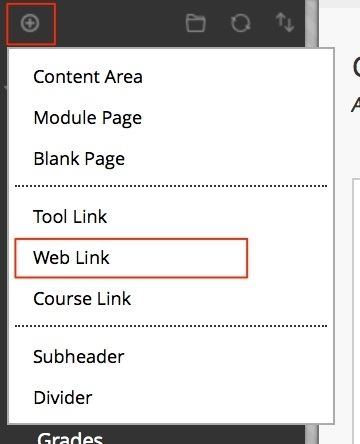 click on the add menu button and then web link